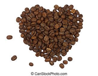 herz, bohnenkaffee, gemacht, körner, symbol, freigestellt, hintergrund, weißes