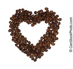 herz, bohnenkaffee, gemacht, symbol, freigestellt, bohnen, hintergrund, weißes