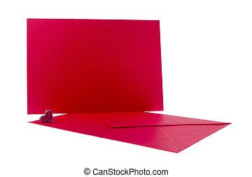 herz, briefkuvert, roter hintergrund, weißes, karte
