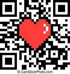 """herz, code, bit, qr, bildunterschrift, vektor, verschlüsselt, 8, """"love"""", pixel"""