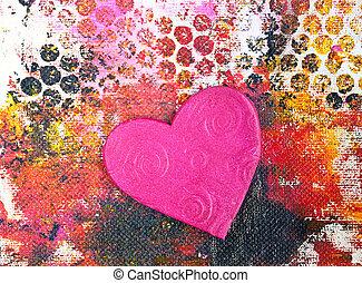 Herz Collage - abstrakter gemalter Hintergrund mit Herz