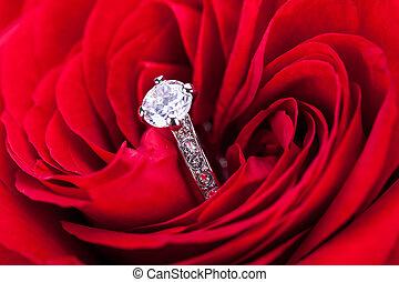 herz, diamant, rose, verlobungsring, rotes