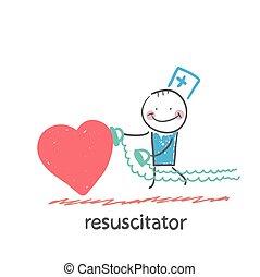 herz, eile, resuscitator, krank