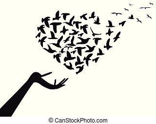 herz, fliegendes, vögel, hand, geformt