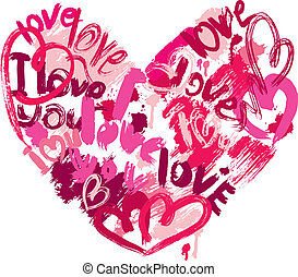 herz- form, gleichfalls, gemacht, von, bürste streicht, und, scribbles, und, wörter, liebe, liebe, -, element, für, valentinestag, oder, wedding, design