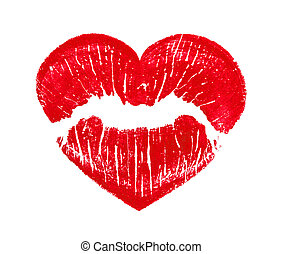 herz- form, lippen, küssende