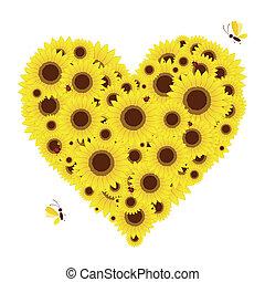 herz- form, sonnenblumen, dein, design