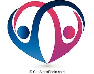 herz- form, und, paar, logo