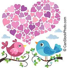 herz- form, valentine, 1, thema, vögel