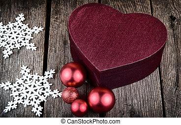 herz- form, weihnachtsgeschenk, kasten, r