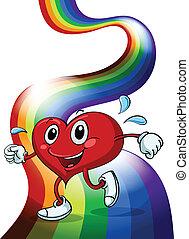 herz, gehen, oben, regenbogen