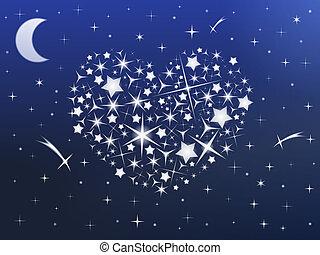 herz, gemacht, himmelsgewölbe, sternen, nacht