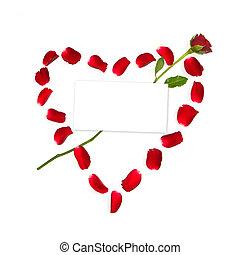 herz, gemacht, von, rosenblütenblätter