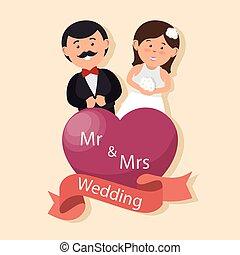 herz, grafik, paar, wedding, frau, design, herr, karte, glücklich