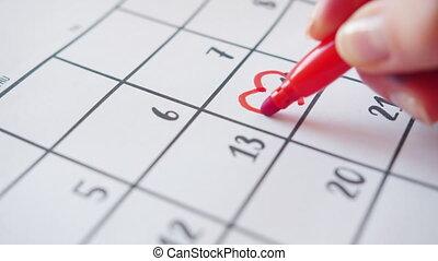 herz, hand, menschliche , zeichnung, februar 14, bewegung, langsam, kalender, ungefähr, form