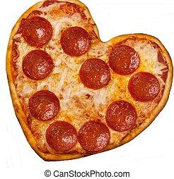 herz hat gestaltet, pizza, für, tag valentines