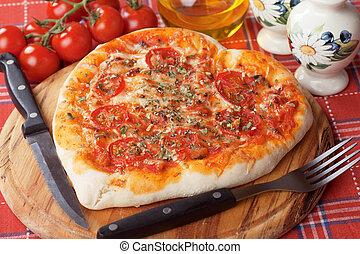 herz hat gestaltet, pizza margherita