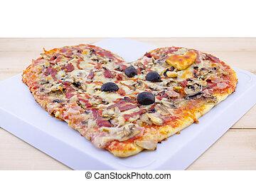 herz hat gestaltet, pizza