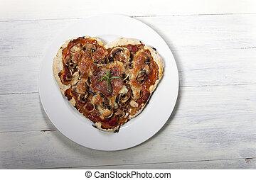 herz hat gestaltet, pizza, weiß, holz