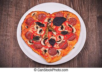 herz hat gestaltet, pizza, weiß, platte