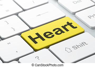 herz, healthcare, edv, hintergrund, tastatur, concept: