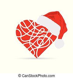 herz, hut, weihnachten, abbildung