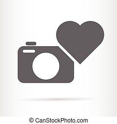 herz, ikone, fotoapperat