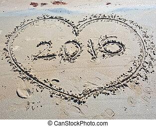 herz, in, sand, 2016