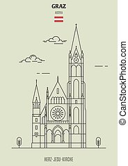 Herz-Jesu-Kirche in Graz, Austria. Landmark icon in linear...