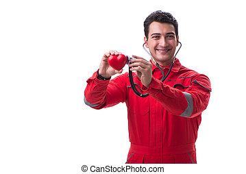 herz, junger, uniform, stethoskop, mann, rotes , hübsch