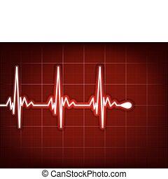 herz, kardiogramm, mit, schatten, auf, ihm, tief, red., eps,...