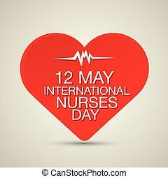 herz, krankenschwester, begriff, tag, international