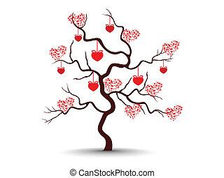 herz, liebe, baum, freigestellt, abbildung, valentine, formen, vektor, hintergrund, hängender , day., haben