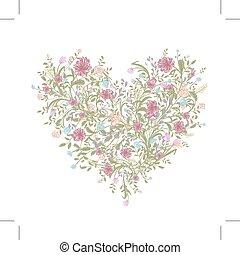 herz, liebe, blumengebinde, dein, form, floral entwurf