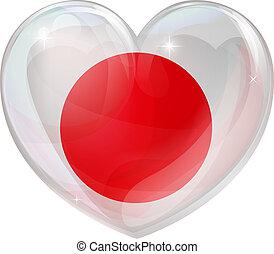 herz, liebe, japan markierungsfahne
