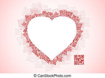 herz, liebe, nachricht, qr, code