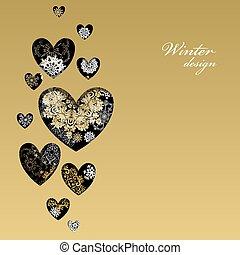 herz, liebe, winter, goldenes, snowflakes., design, card.