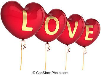 herz, luftballone, liebe, geformt