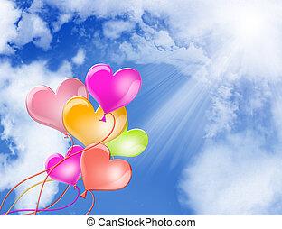 herz, luftballone, liebe, hintergrund, himmelsgewölbe