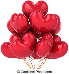 herz, luftballone, liebe, rotes , geformt