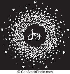 herz, mandala, wort, freude, umgeben, verzierung, calligraphic, hintergrund., geschrieben, vektor, schwarz, umkreist, hand, lettering.