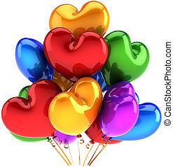 herz, mehrfarbig, luftballone, geformt