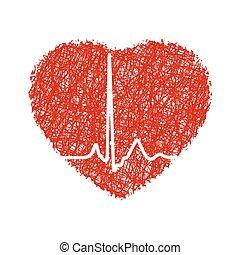 herz, mit, cardiogram., eps, 8