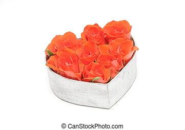 Herz mit roten Rosen - rose, herz, rosen, rot, liebe,...