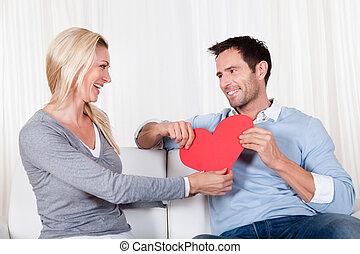 herz, paar, romantische , besitz, rotes