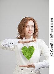 herz, pflanze, frau, sie, grün, halten hände