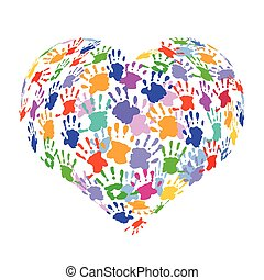 Herz-Print.eps - Heart shape formed with colorful handprints