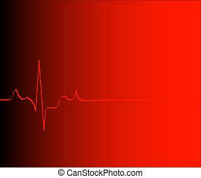 herz rhythmus, steigung, -, vektor, hintergrund, rotes