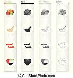 herz, satz, monochrom, arabisches , khussa, stil, symbols., heiligenbilder, gebiet, orientalische , schwarz, bestand, landkarte, symbol, web., sammlung, araber, vereint, abbildung, karikatur, grobdarstellung, süßigkeiten, vektor, emirate