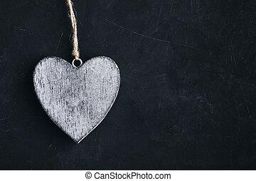 herz, selbstgemacht, hölzern, heart., tafel, valentines, rustic, hintergrund, dunkel, tag